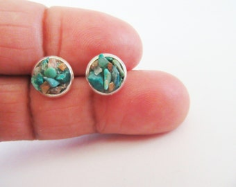 Chrysocolla Stud Earrings  - Crushed Raw Gemstones