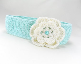 Crocheted baby headband, crochet cotton headband,mint headband, hair accessories, headband with  flower,  READY TO SHIP