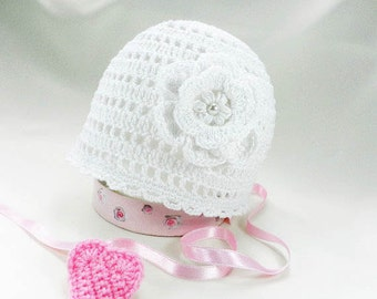 Discount-Crocheted baby hat, cotton baby hat, white baby hat, summer hat, newborn hat, christening baby hat,  READY TO SHIP