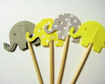 24 Yellow Gray Dot Elephant Party Picks - Cupcake Toppers - Toothpicks - Food Picks -  FP610