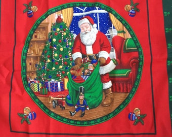 Christmas Fabric Santa Quilt Squares and Christmas Bear Fabric Panel 100% Cotton Fabric Two Panels 2 yds for quilt wall hanging or pillow