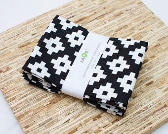 Large Cloth Napkins - Set of 4 - (N3085) - Black Geometric Modern Reusable Fabric Napkins