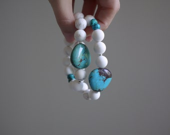 turquoise and white statement bracelet.  turquoise howlite and white howlite. sterling silver. stack. stretch. custom fit.