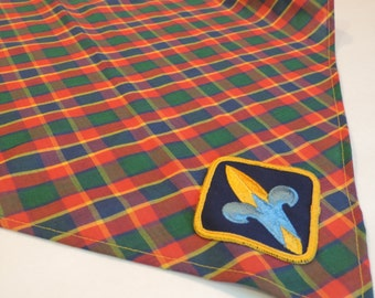 Boy Scouts Collectible Boy Scouts Checked Scarf Plaid Scarf Vintage Scout Collectible Vintage Boy Scout Collectible