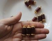 Destash - Vintage French Plastic Beads - Capped Barrel Connectors in Faux Tortoisehsell or Amber