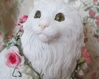 shabby chic cat statue white cat figurine