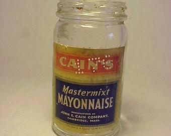 c1930s Cain's Mastermixt Mayonnaise John E. Cain Cambridge, Mass. , Food Jar With the original paper label