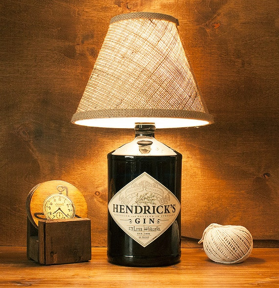 Upcycled Glass Hendricks Gin Bottle Lamp Light Free By