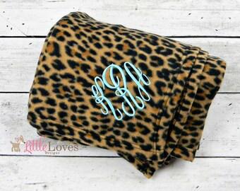 Leopard Print Blanket- Monogrammed Blanket- Embroidered Blanket- Personalized Fleece Blanket
