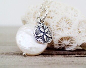 Sand Dollar, White Coin Pearl Necklace, Sterling Silver, June Birthstone, Beach Theme