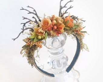 Beautiful fall woodland headband for sitter to adult for photography