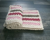Baby Blanket with Stripes// Blossom, Barley, Fisherman and Raspberry// Photo Prop, Shower Gift, Bringing Home Baby