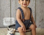 Chunky Sitter Shorts with Adjustable Straps in Denim // Photography Prop //
