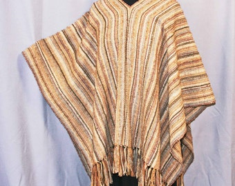 Tan and beige handwoven wool shawl, hand woven brown wool poncho