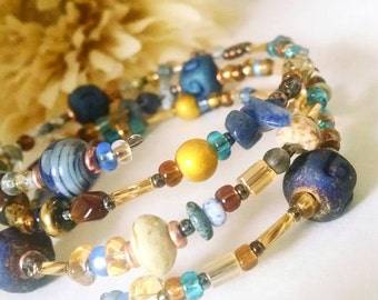 Blue Gold Boho Beaded Bracelet, Memory Wire Bracelet, Womens Gift for Her, Bohemian Bracelet, Gypsy Stone Wrap Bracelet, Best Selling Items