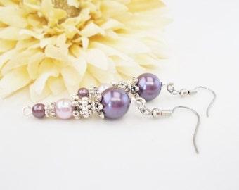 Lavender Earrings, Pearl Drop Earrings, Purple Earrings, Boho Bridal Earrings, Wedding Earrings, Lilac Earrings, Clip On Earrings, Wisteria