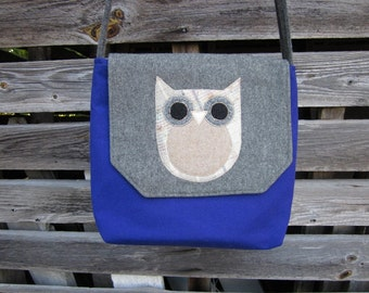 Owl crossbody bag, messenger bag, wool purse
