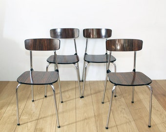 Four Vintage Kitchen Chairs -  Retro 1960s Formica Wood Effect with Chrome Frame  by Tavo Belgium