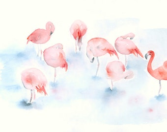 Flamingos Original Watercolor Painting