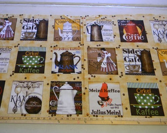 Daily Grind Coffee 24x44 panel premium cotton fabric by J Wecker Frisch for Quilting Treasures