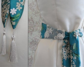 Liberty of London Silk Bridal Sash // Teal & Ivory Floral, Tassels, 1920s