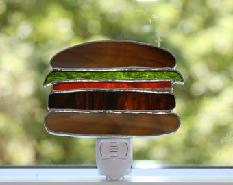 Night Light Light Sensor Stained Glass Hamburger Where's the Beef?