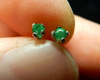 Tiny little emeralds in sterling silver ear studs