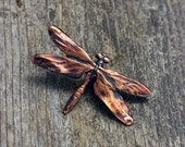 Spring Sale 10% Dragonfly Brooch in copper