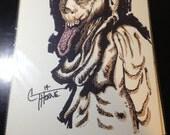 Original Ink Drawing - ZOMBIE  mixed media ink / watercolor