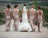 Bridesmaid dress Long CHAMPAGNE Sequin bridesmaid dress, cocktail dress, formal elegant dress, prom dress, open peekaboo back, sexy dress