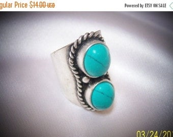 SALE Vintage Turquoise and Silver Tone Statement Ring