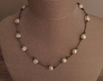 Freshwater pearl and silver leather necklace