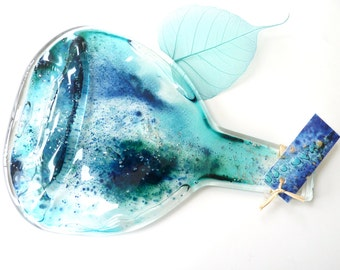Melted wine bottle ~ spoon rest, recycled bottles, melted wine bottle, blue turquoise, coloured glass, unusual gifts, one of a kind, quirky