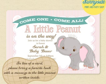 Elephant Baby Shower Invitation, Little Peanut Printable Shower Invite in Pink