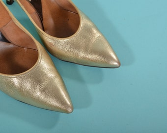 Vintage 1960s Golden Lame Shoes - High Heel Stiletto - Bridal Fashions Size 7 8 N