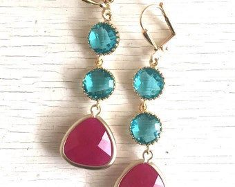 Long Fuchsia Pink and Teal Jewel Dangle Earrings in Gold. Gift. Bridesmaid Earrings. Drop Earrings. Jewelry. Gift for Her.