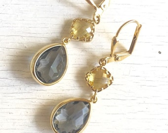 Charcoal  Grey Teardrop and Citrine Yellow Diamond Dangle Earrings.  Grey and Yellow Dangle Earrings. Jewelry Gift. Bridesmaid Earrings.