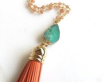 Leather Tassel Necklace Druzy.  Long Aqua Peach Tassel Necklace. Druzy Necklace. Teal and Orange Tassel Long Necklace. Boho Jewelry. Gift.