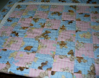 Blue/Pink Teddy Bears Crib Size Quilt