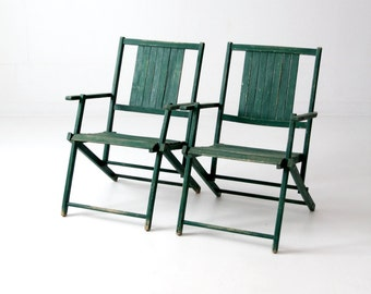vintage wood folding chairs, green slat wood patio furniture