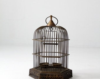 SALE antique brass birdcage, decorative bird cage