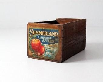 SALE vintage apple crate, wooden fruit box, Summerland Canadian apples