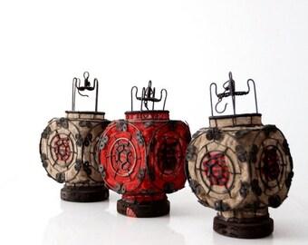 SALE Chinese lantern set of 3, vintage Good Luck decor, wire lanterns