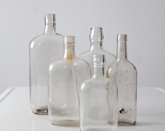 SALE antique glass bottles, large apothecary bottle collection
