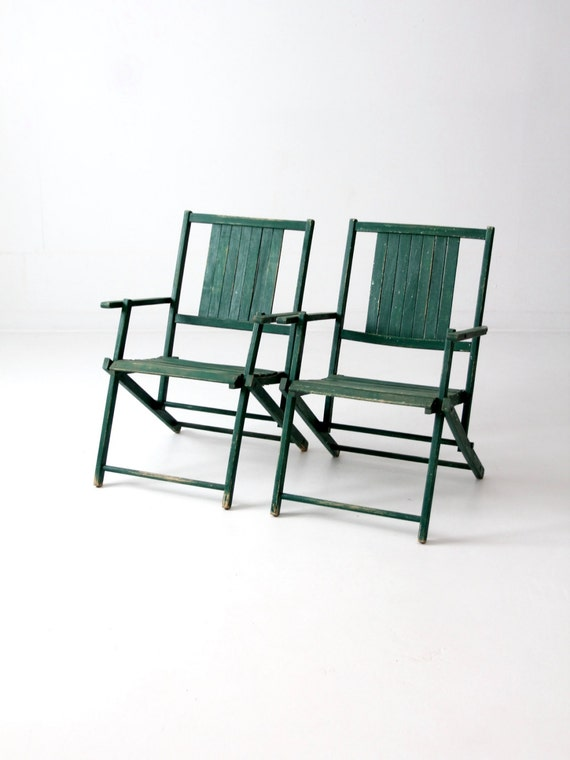 Vintage Wood Folding Chairs Green Slat Wood Patio Furniture