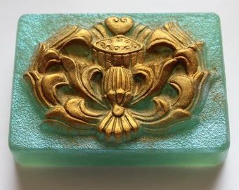 CELTIC SOAP, Celtic Detailed Soap, Irish Soap, Celtic Green and Gold Soap, Welsh Soap, For Her, St. Patrick's Day Soap