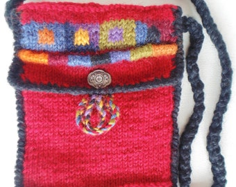 Rich Red & Multi Colored Hand Stitched Wool Shoulder Bag Nepal UNUSED