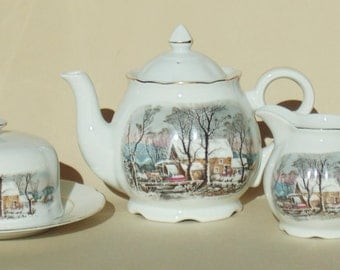 8 Piece CURRIER & IVES Set Manager's Teapot Creamer 2-Handled Sugar Bowl Bell Cheese Plate With Lid Avon PRISTINE