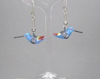Vintage Hummingbird Earrings, Mexican Folk, Painted Hummingbirds, Clay Hummingbirds
