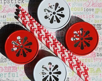 XOXO SALE Red and White Mason Jar Lids
